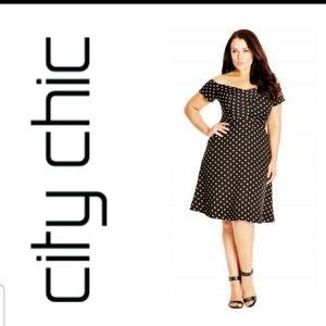EUC-City Chic polka dot off the shoulder dress
